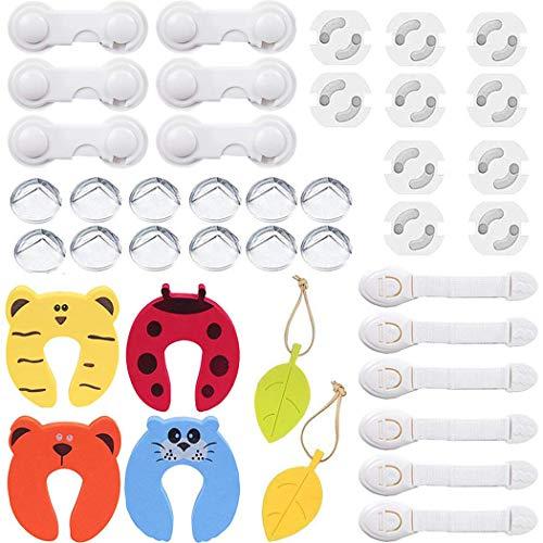 ZOCONE Sicurezza Bambini, 40 PCS Sicurezza Cassetti Bambini, 10 Protezione Angoli + 10 Coperchio Protezione Presa e Chiusure Sicurezza Bambini eccetera