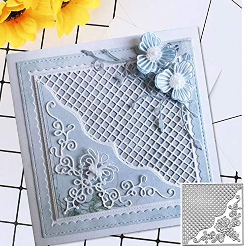 Grid Background Square Frame Metal Die Cuts,Flower Farme Net Lace Border Edge Cutting Dies Cut Stencils for DIY Scrapbooking Album Decorative Embossing Paper Dies for Card Making