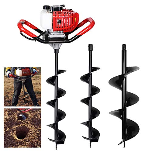 ECO LLC 1-Person 52cc 2-Cycle Earth Auger Gas Powerhead with Two Earth Auger Drill Bit 6' & 10'