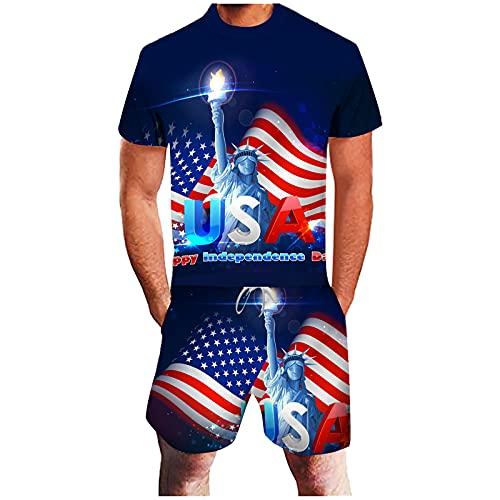 YANFANG Conjunto Informal del DíA De La Independencia con ImpresióN 3D Bandera Americana Verano para Hombres,Deportivo Traje Ocio Camisa + Pantalones Cortos Deportivos Entrenamiento,3-Azul,4XL