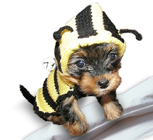 Bee XXXS Small Dog Sweater Costume Teacup Dog Clothes Yorkie Chihuahua Clothes Puppy Sweater Hoodie Apparel