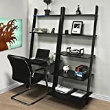 Best Choice Products 7-Shelf Leaning Bookcase and Computer Desk for Home and Office, Black