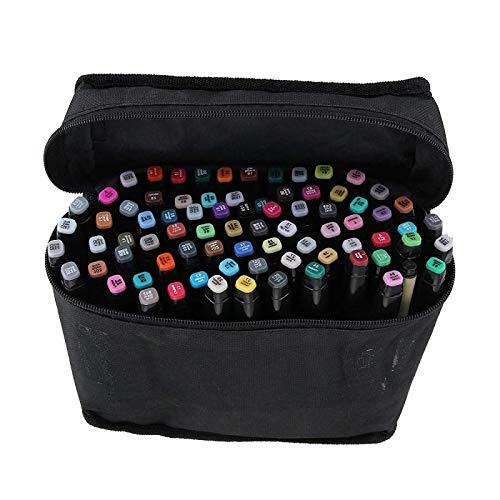 PetHot Conjunto de 80 colores Touch alcohol gráfico arte Sketch Twin marcador pluma amplio punto fino, con Cáscara negro
