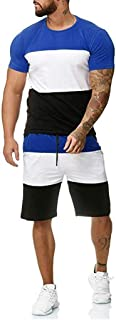 Striped Patchwork Jogging Sets for Men,Short Sleeve Tops+Drawsting Short Pants Sports Suit Tracksuit Sweat Suits by Leegor …