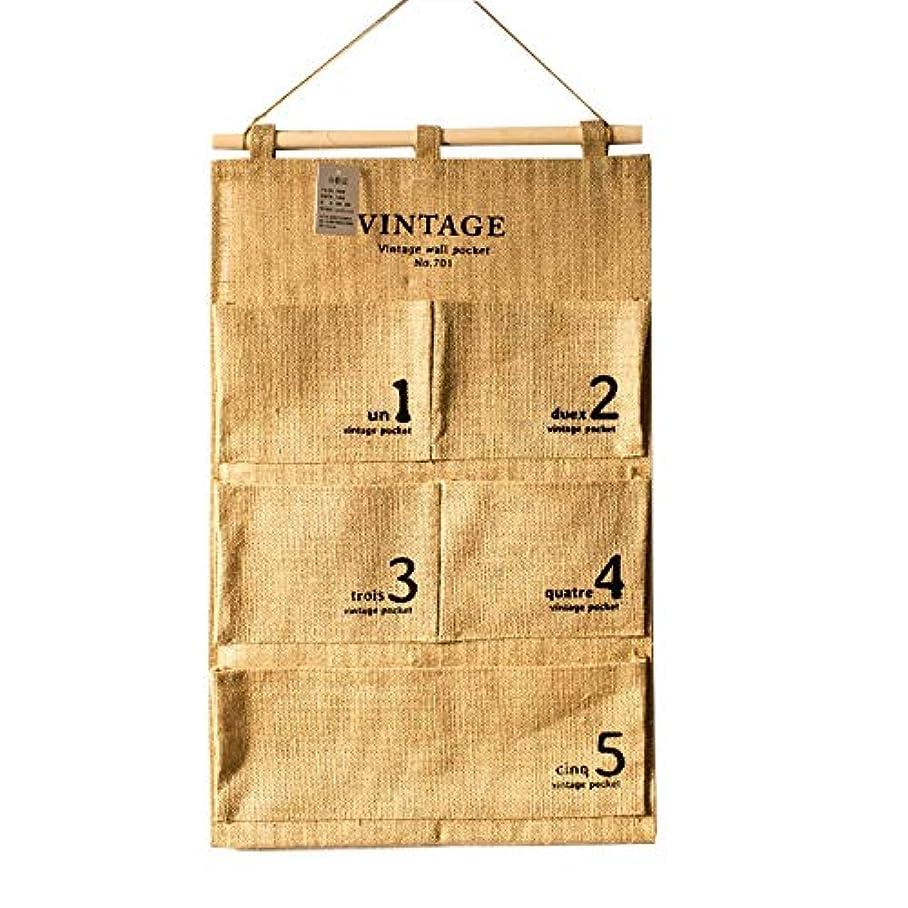 ナット句読点恥STORAGE BOX LUOSAI 綿と麻の吊りバッグ防水マルチポケットドア下着携帯電話紙の家の毛皮のような収納袋