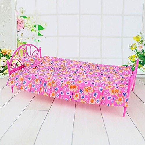 Poupée Meubles de Chambre Rose Lit Maison de Poupées Jouet