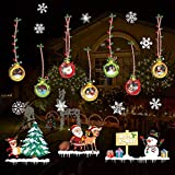 SanXingRui Christmas Window Stickers, Snow Flakes Stickers Christmas Window Decorations Window Clings Decal Wall Stickers, Glass Decal Mural New Year Christmas Decoration (caise1)