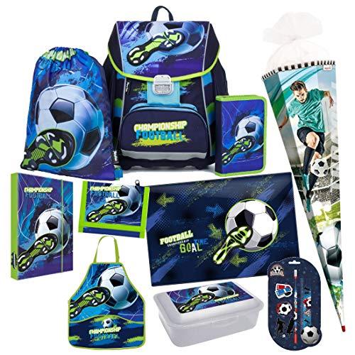 Fussball Football 10 Teile Schulranzen RANZEN Schultüte Tornister Set mit Sticker von Kids4shop Tasche Fußball