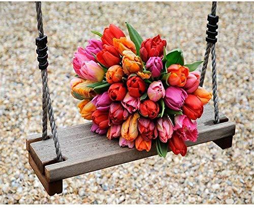 Wzjxzsynl boeket met kleurrijke tulpen op een schommel, olieverfschilderij om zelf te maken, voor cijfers op canvas, cadeau voor volwassenen, kinderen, verjaardag, bruiloft, nieuw huis