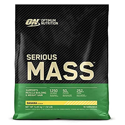 Optimum Nutrition Serious Mass Protein Powder High Calorie Mass Gainer with Vitamins, Creatine and Glutamine, Banana, 16 Servings, 5.45 kg