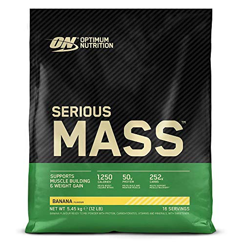 Optimum Nutrition ON Serious Mass Hochkalorisches Weight Gainer Protein Pulver mit Kohlenhydrate, Whey Protein, Vitaminen, Kreatin und Glutamin, Banana, 16 Portionen, 5,45kg