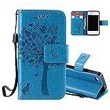 Aeeque® Portable Bleu Etui PU Cuir Coque iPhone 5C, Élégant [Chat et Arbre] Motif à Rabat...