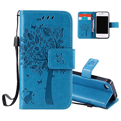 Aeeque® Portable Bleu Etui PU Cuir Coque iPhone 5C, Élégant [Chat et Arbre] Motif à Rabat Portefeuille Housse Pochette Magnétique Support Style de Livre Anti Rayure Protection pour iPhone 5C