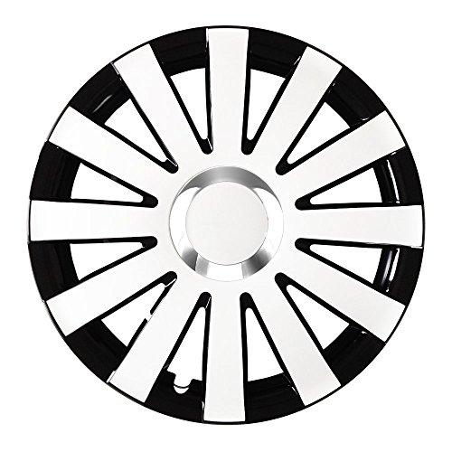 Autoteppich Stylers (Farbe und Größe wählbar) 14 Zoll Radkappen Onyx (Schwarz-Weiß) passend für Fast alle Fahrzeugtypen (universal)