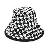 Sombrero de Pescador Damas Otoño Invierno tela escocesa de cubo sombreros de las mujeres caliente grueso sombrero de vestir Negro Caps Caps Pescador sombreros de las mujeres y de los hombres