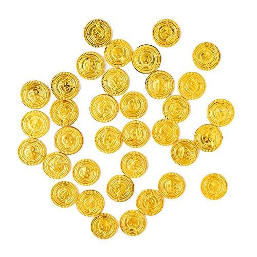 50 Pc De Oro De Plástico Monedas Juguete Monedas Tesoro Pirata Monedas Monedas Traje Ladrón con Símbolo del Dólar con Asas para Pirate