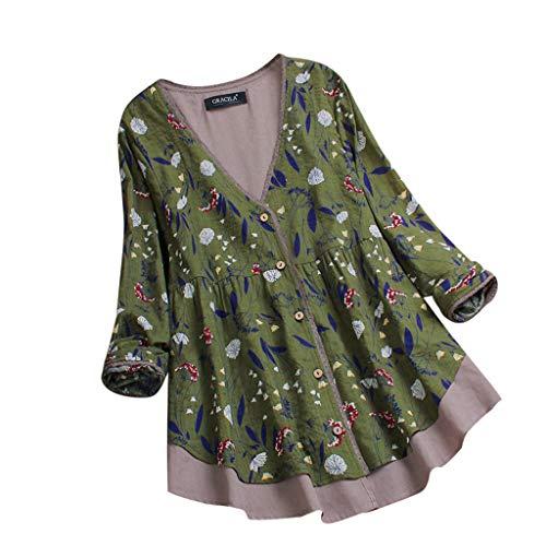 VEMOW Herbst Frühling Sommer Elegante Damen Frauen Stehkragen Langarm Casual Täglichen Party Strand Urlaub Lose Tunika Tops T-Shirt Bluse(Z2-Grün, 52 DE / 5XL CN)