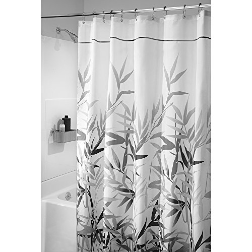 Price comparison product image iDesign Anzu Fabric Shower Curtain,  Shower Screen with Garden Pattern Design,  Polyester,  Grey,  180 x 200 cm