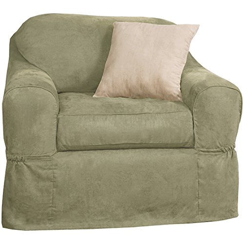 MAYTEX Piped Suede 2-Piece Chair Furniture Cover/Slipcover, Sage