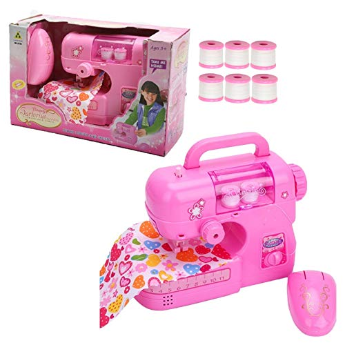 Lansel Mini Electric Sewing Machine Toy Kids DIY Tool Kit Crafting Household Repair Educational Toy Early Cognitions Pretend Toys Children Christmas Birthday Gift for Child Toddlers