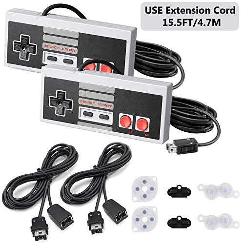 NES Classic Controller Extension Cable,2 Pack 3M/10 Feet Extension Cord with 2 NES Mini Classic Controller,NES Classic 2016,NES Classic 2017,Classic Mini Controller with 2 Set Conductive Adhesive Pads