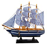 dedoot Wooden Sailing Ship Model, Vintage Handmade Wood Sailboat Model Nautical Decor 8'x7' for Tabletop Ornament, Photo Props, Beach Ocean Theme Party and Room Decoration