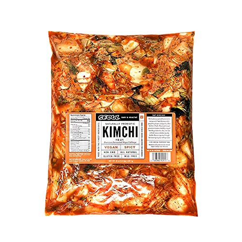 Lucky Foods Seoul Kimchi (Pack of 1) - Authentic Made to Order Korean Kimchi (Spicy Vegan, 56 oz) Plant Based - Vegan - Gluten-Free - Kosher Certified
