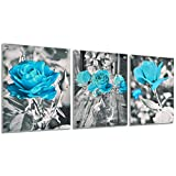 3 Pieces Wall Art Prints Rose Flower Art Prints, Teal Floral Wall Art Paintings, Black and White Flowers Painting Prints for Room