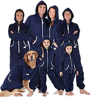 """Joggies - Family Matching Oxford Blue Hoodie Onesies for Boys, Girls, Men, Women and Pets (Kids - Small (Fits 4'2-4'5""""))"""