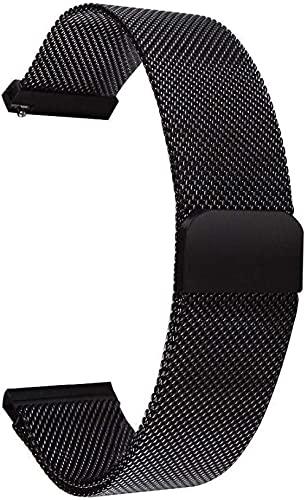 XiangRuiDa Correas de reloj de 14 mm, 16 mm, 18 mm, 20 mm, 22 mm, 24 mm, cierre de correa de reloj de acero inoxidable, correa de repuesto de metal, para hombres y mujeres, color negro