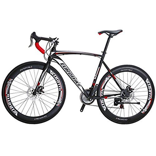 Eurobike Road Bike TSM550 Bike 21 Speed Dual Disc Brake 700C Wheels Road Bicycle (54cm Spoke Wheel)