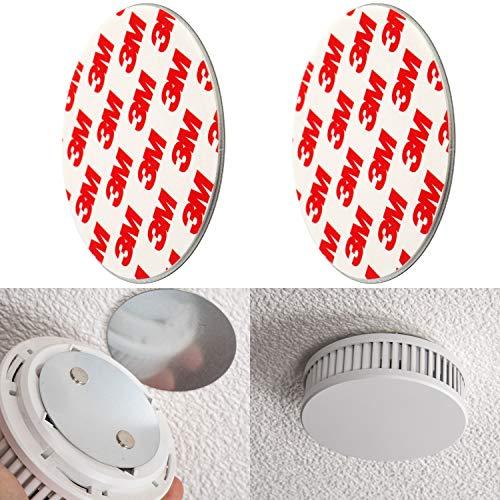 Rauchmelder Magnethalter, 2er Pack, Ø 70 mm, Selbstklebend, 3M Pads, Magnethalterung zur einfachen Befestigung ohne Bohren und Schrauben, für alle Feuermelder und Rauchwarnmelder, Rauchmelder Klebepad