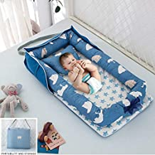 Best GP Lounger Nest for Napping for Baby, Lounging, Sleeping, Cuddling – Portable Hypoallergenic Cotton Bed for Newborns and Infants – Features Adjustable Strap Design, Ideal for Travel (Blue)