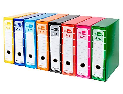 Pack 8 archivadores de palanca A4 Officepaper forrado sin rado lomo 80mm con caja y compresor metálico color surtido