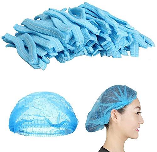Mingjun - 100 gorros desechables no tejidos, elásticos, antipolvo, para médicos, laboratorios,...