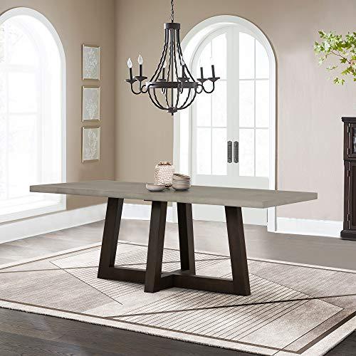 Armen Living Elodie Concrete and Dark Oak Rectangle Dining Table, Medium Grey