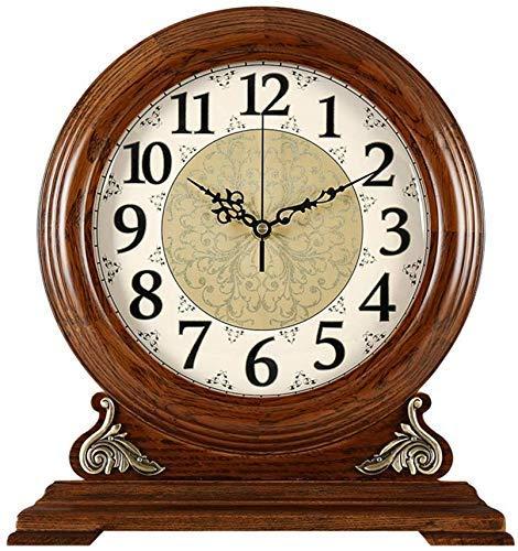 CAIJINJIN MANTLE RELOJ Reloj de mesa Familia relojes Silent Tabla reloj de la chimenea relojes de reloj de madera maciza de la sala de estar dormitorio American Retro adornos adecuados Compatible with