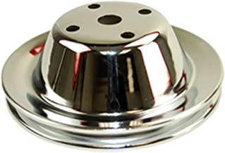 Pirate Mfg SBC Chevy 283-350 Chrome Steel Smooth LWP Single Groove Water Pump Pulley