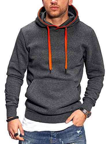 JACK & JONES Felpa con Cappuccio Hoodie Pullover Casual Streetwear (L, Dark Grey Melange/Orange)
