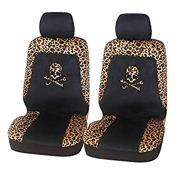 AUTOFAN Leopard Cheetah Print Front Car Seat Covers Cute Skull Bucket Car Seat Covers Set for Women Universal Fit for Cars Trucks SUV and Van  Leopard-Skull
