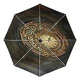 Arte Antiguo Reloj Dorado Paraguas Plegable Automático Abrir y...