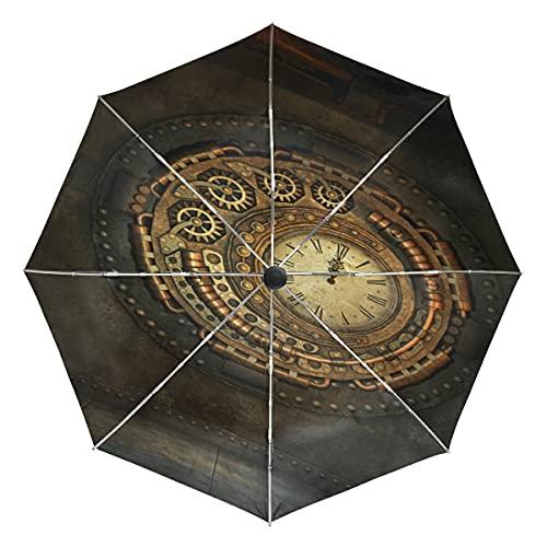 Arte Antiguo Reloj Dorado Paraguas Plegable Automático Abrir y Cerrar Protección UV Ligero Paraguas para Viajes Playa Mujeres Niños Niñas