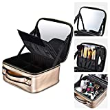 Byootique Golden Portable Makeup Train Case Cosmetic Bag Storage Box with Mirror Adjustable Dividers Organizer for Toiletry Jewelry Travel
