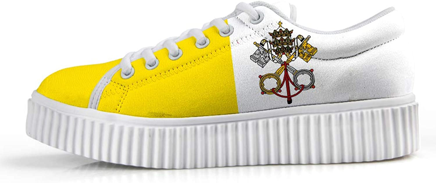 Owaheson Platform Lace up Sneaker Casual Chunky Walking shoes Low Top Women Vatican City Flag