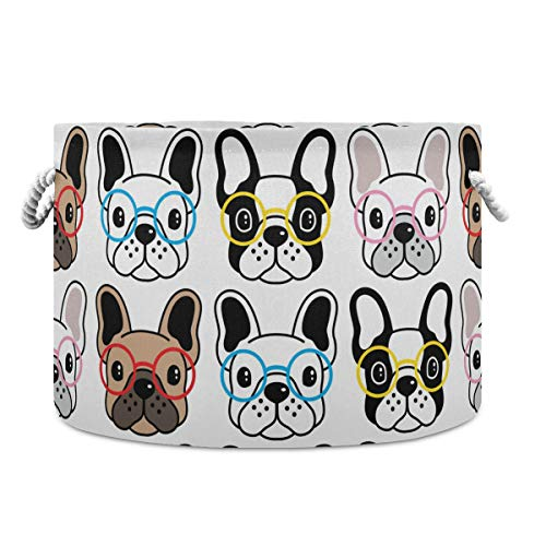 ALAZA Round Storage Basket Bin Cute Glasses French Bulldog Collapsible Waterproof Laundry Hamper Baby Nursery Basket Organizer with Handles for Bedroom Closet Toys Gifts