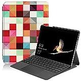 LMFULM® Hülle für Microsoft Surface Go (10 Zoll) PU Leder Lederhülle Bunte Quadrate Muster Stent-Funktion Flip Cover Kompatibel mit der Type-Cover-Tastatur für Microsoft Surface Go