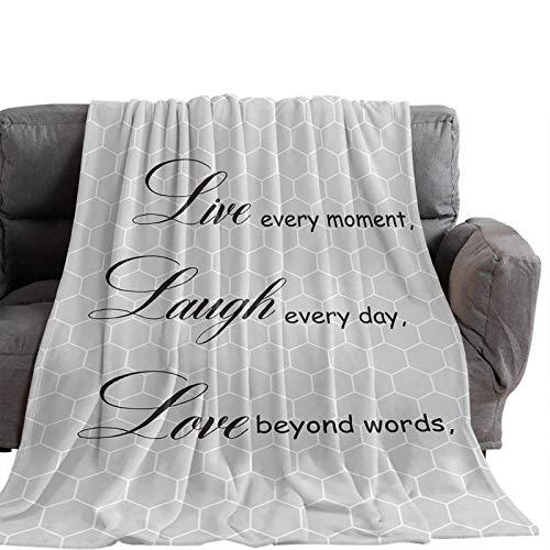 Manta Para Blanket Citas de inspiración en negro sobre panal, gris Mantas Para 125X100CM