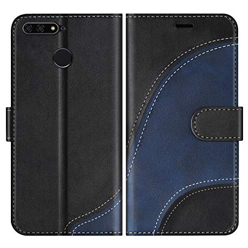 BoxTii Hülle für Huawei Y6 2018 / Huawei Honor 7A, Leder Handyhülle für Huawei Y6 2018 / Huawei Honor 7A, Ledertasche Klapphülle Schutzhülle mit Kartenfächer & Magnetverschluss, Schwarz