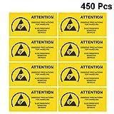 iplusmile 450Pcs Etichette Esd Etichetta Adesiva di Avvertimento Statica Autoadesiva Attenzione - Osservare Le Precauzioni Dispositivi Sensibili Elettrostatici (Giallo)