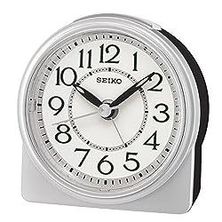 SEIKO Analogue Beep Alarm Clock, Silver, 10.3 x 5.5 x 10.5 cm